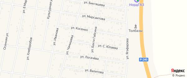 Улица Бахти Гайсина на карте села Толбазы с номерами домов