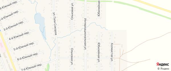 Интернациональная улица на карте села Верхние Татышлы с номерами домов