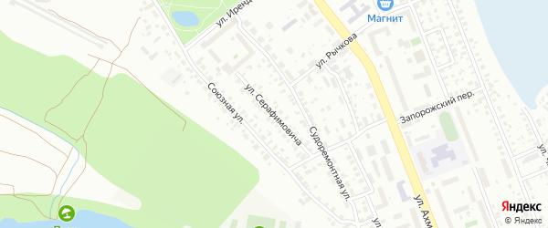 Улица Серафимовича на карте Уфы с номерами домов
