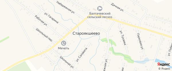 Школьный переулок на карте деревни Староякшеево с номерами домов