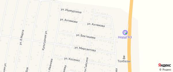 Улица Бикташева на карте села Толбазы с номерами домов
