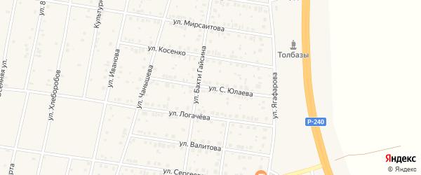 Улица С.Юлаева на карте села Толбазы с номерами домов