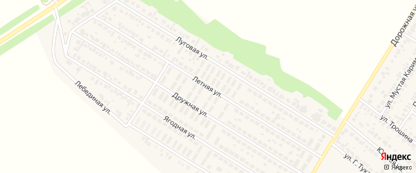 Дружная улица на карте деревни Байрака с номерами домов