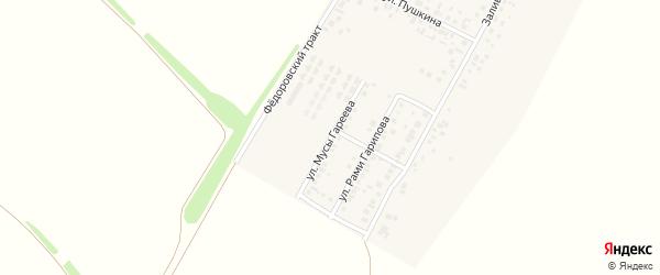 Улица Мусы Гареева на карте деревни Байрака с номерами домов