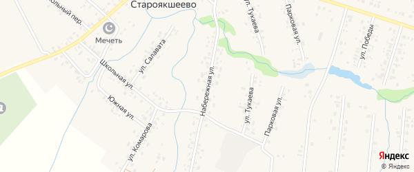 Набережная улица на карте деревни Староякшеево с номерами домов