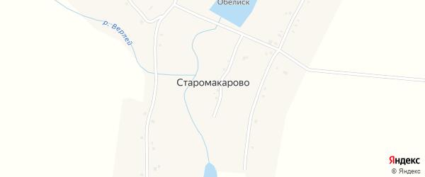 Школьная улица на карте деревни Старомакарово с номерами домов