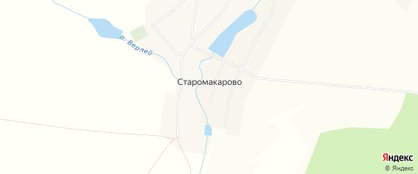 Карта деревни Старомакарово в Башкортостане с улицами и номерами домов