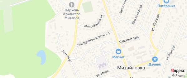 Экспериментальная улица на карте села Михайловки с номерами домов