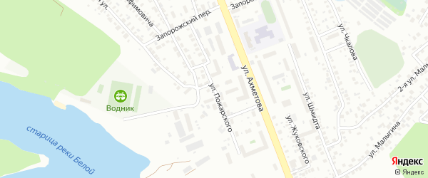Улица Пожарского на карте Уфы с номерами домов