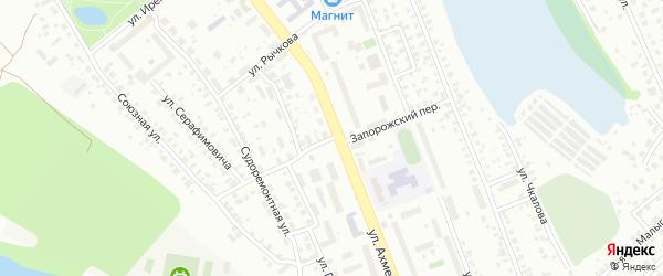 Запорожский переулок на карте Уфы с номерами домов