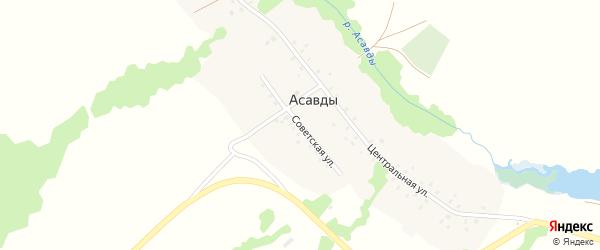 Советская улица на карте деревни Асавды с номерами домов