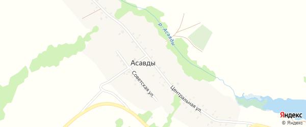 Центральная улица на карте деревни Асавды с номерами домов