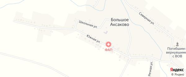 Южная улица на карте села Большое Аксаково с номерами домов