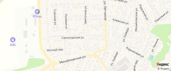 Цветочная улица на карте села Михайловки с номерами домов