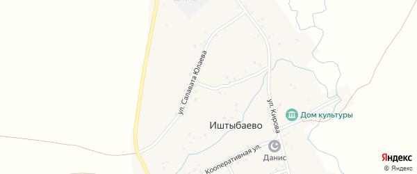Улица Салавата Юлаева на карте деревни Иштыбаево с номерами домов