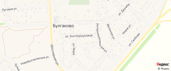 Улица З.Коршуновой на карте села Булгаково с номерами домов
