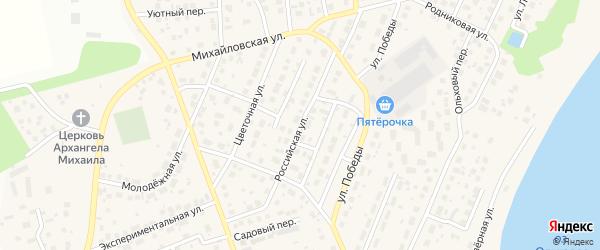 Российская улица на карте села Михайловки с номерами домов