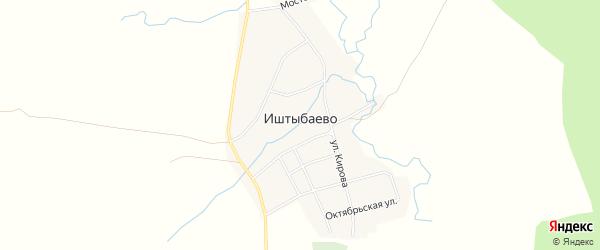 Карта деревни Иштыбаево в Башкортостане с улицами и номерами домов