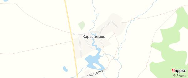 Карта деревни Карасимово в Башкортостане с улицами и номерами домов
