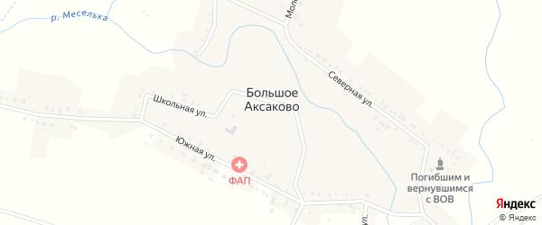 Дорожная улица на карте села Большое Аксаково с номерами домов