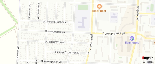 Пригородная улица на карте Стерлитамака с номерами домов