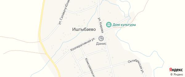 Кооперативная улица на карте деревни Иштыбаево с номерами домов