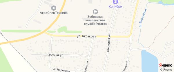 Улица Аксакова на карте села Зубово с номерами домов
