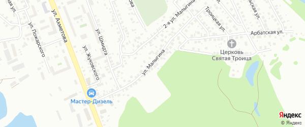 Улица Малыгина на карте Уфы с номерами домов