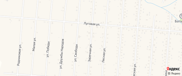 Заречная улица на карте села Старобалтачево с номерами домов