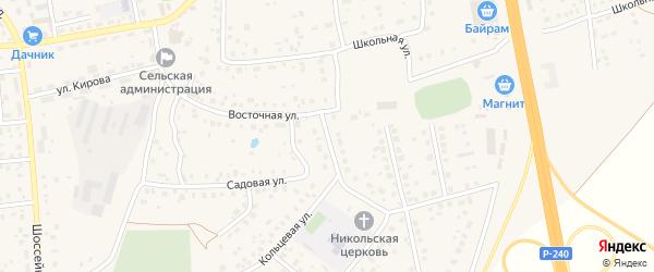 Восточная улица на карте села Булгаково с номерами домов