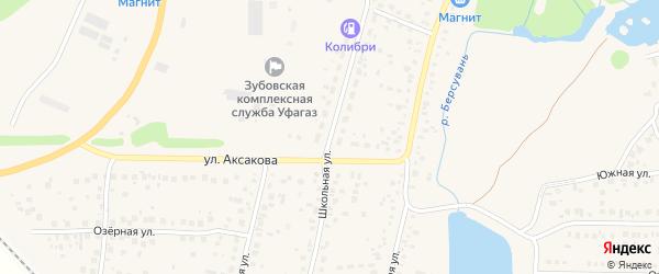 Школьная улица на карте села Зубово с номерами домов