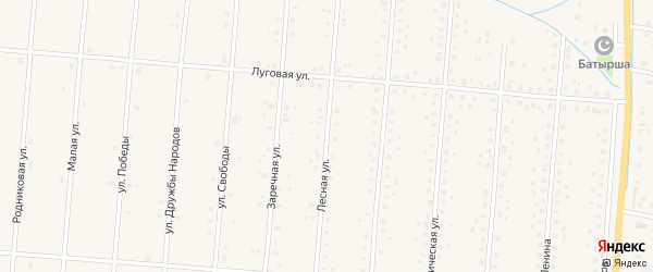 Лесная улица на карте села Старобалтачево с номерами домов