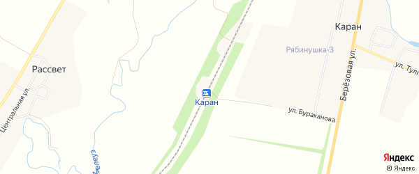 Карта деревни Разъезды Каран в Башкортостане с улицами и номерами домов