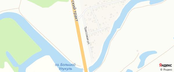 Трассовая улица на карте деревни Искино с номерами домов