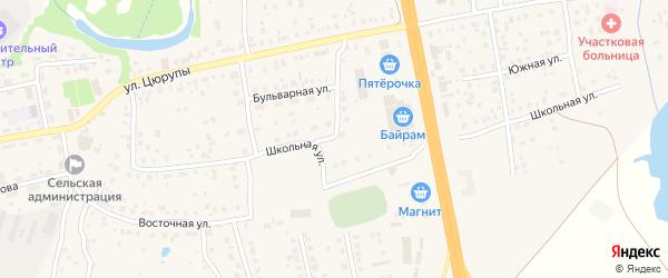 Школьный переулок на карте села Булгаково с номерами домов