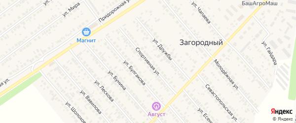 Спортивная улица на карте села Загородного с номерами домов