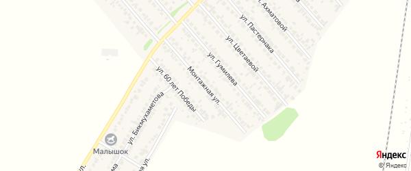 Монтажная улица на карте села Загородного с номерами домов