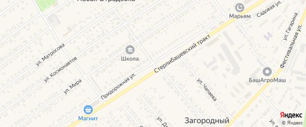 Придорожная улица на карте села Новой Отрадовки с номерами домов
