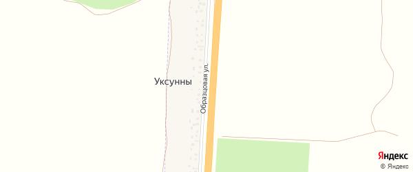 Образцовая улица на карте деревни Уксунны с номерами домов