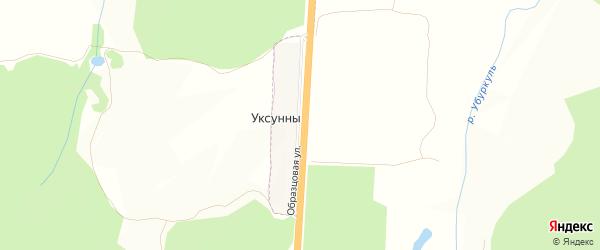 Карта деревни Уксунны в Башкортостане с улицами и номерами домов