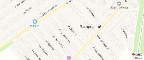 Улица Дружбы на карте села Загородного с номерами домов
