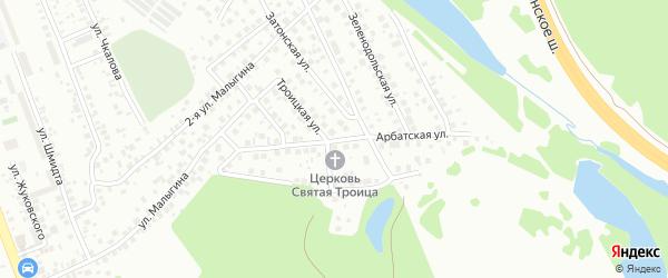 Арбатская улица на карте поселка Тихой Слободы с номерами домов