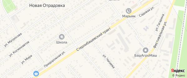 Улица Стерлибашевский тракт на карте села Новой Отрадовки с номерами домов