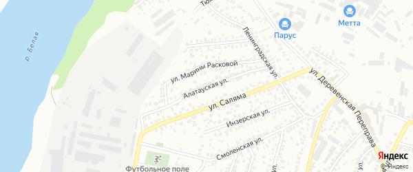 Алатауская улица на карте Уфы с номерами домов