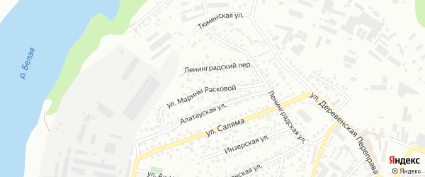 Улица Марины Расковой на карте Уфы с номерами домов