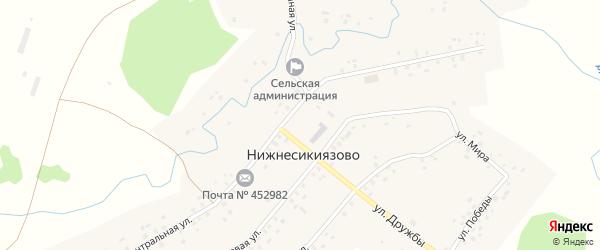 Центральная улица на карте села Нижнесикиязово с номерами домов