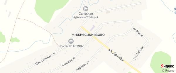 Улица Дружбы на карте села Нижнесикиязово с номерами домов