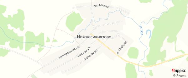 Карта села Нижнесикиязово в Башкортостане с улицами и номерами домов