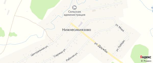 Улица Победы на карте села Нижнесикиязово с номерами домов