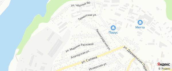 Ленинградский переулок на карте Уфы с номерами домов